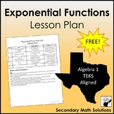 Exponential Functions Unit Lesson Plan for Algebra 1