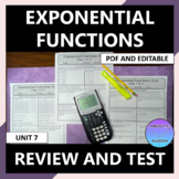 Exponential Functions Unit Review and Test Editable U7
