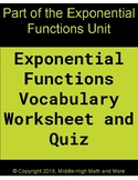 Exponential Functions Vocabulary Worksheet and Quiz - Print and DIGITAL