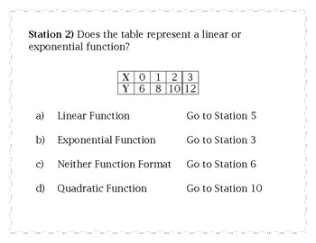 Exponential Functions and Sequences Review - Station Maze