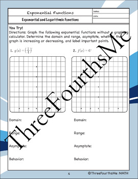 Exponential Functions and Their Graphs - Scaffolded Notes