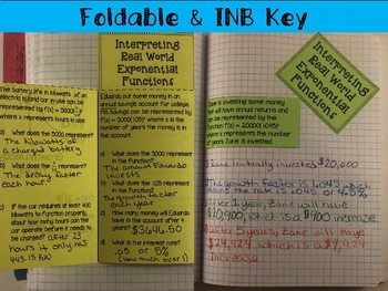 Exponential Functions in the Real World: Foldable, INB, Practice, Exit