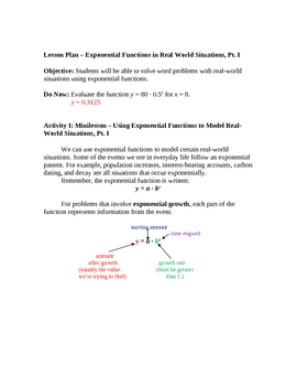 Exponential Functions to Model Exp Growth & Compound Interest