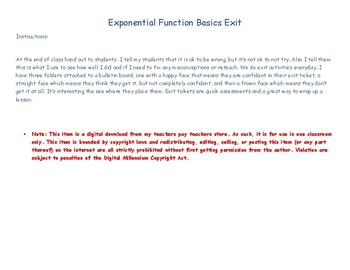 Exponential Graph Basics Exit Ticket