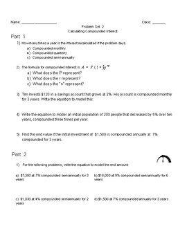 Exponential Growth And Compound Interest Worksheets