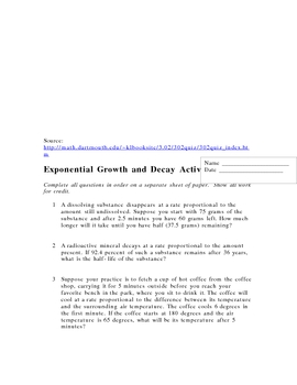 Exponential Growth and Decay Quiz