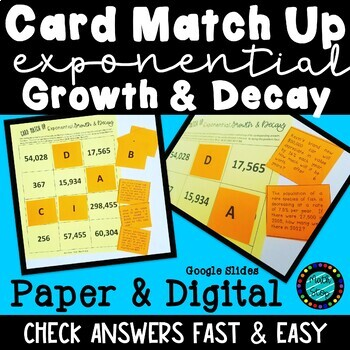 Exponential Growth & Decay Card Match Up Activity