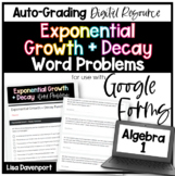 Exponential Growth & Decay- Digital Assignment for use with Google Forms