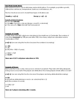 Exponential Growth & Decay Regents Review (Notes & Practice Questions)