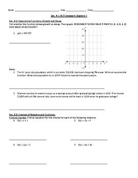 Exponential Growth/Decay and Inverse Functions Worksheet