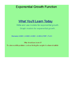 Exponential Growth Function SmartBoard Lesson