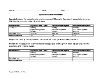 Exponential Growth Word Problems with Graphic Organizer