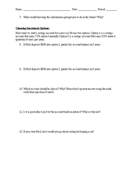 Exponential Growth and Compound Interest Task