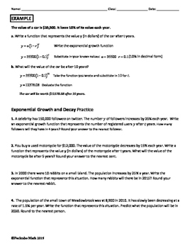 exponential growth and decay word problems worksheet answers ...