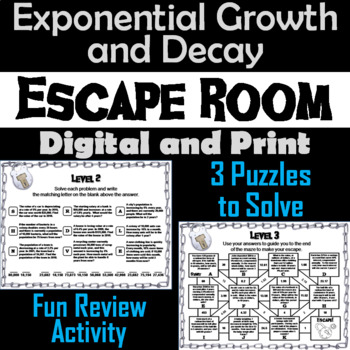 Exponential Growth and Decay Activity: Algebra Escape Room Math