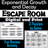 Exponential Growth and Decay Activity: Algebra Escape Room Math Game