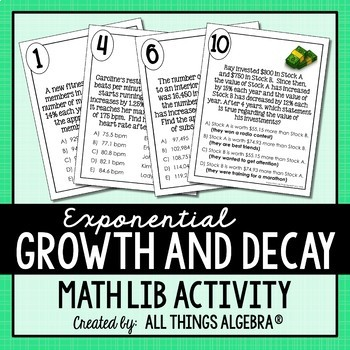 Exponential Growth and Decay Applications Math Lib