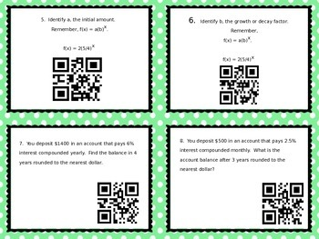 Exponential Growth and Decay Differentiated Task Cards with QR Codes