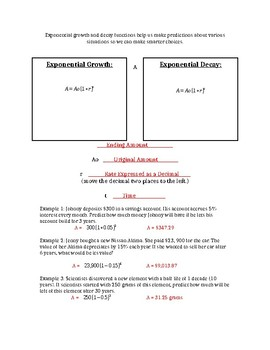 Exponential Growth and Decay Guided Notes