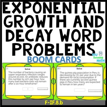 Exponential Growth and Decay Word Problems - Digital BOOM Cards + Task Cards