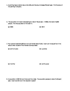 Exponential Growth/Decay Problems