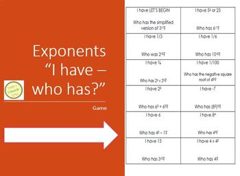 Exponential Laws - I Have Who Has Game