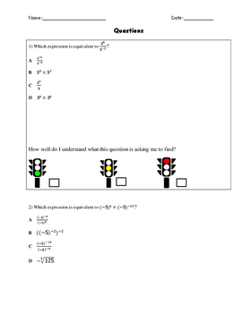Exponent Laws Test Questions: Red Light, Yellow Light, Gre