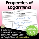 Algebra 2 Properties of Logarithms