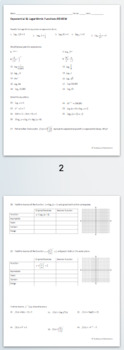 Exponential & Logarithmic Functions Practice BUNDLE