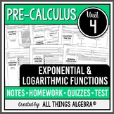 Exponential & Logarithmic Functions (PreCalculus - Unit 4) DISTANCE LEARNING