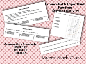 Exponential & Logarithmic Functions Stations Activity