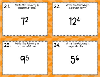 Exponential Power {Exponent Related} Task Cards
