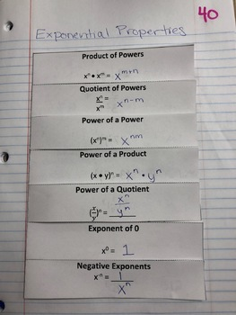 Exponential Properties Interactive Notebook Foldable