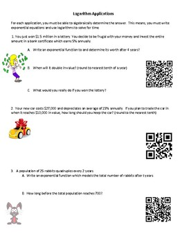 Exponential and Logarithmic Functions-Word Problems with QR Codes