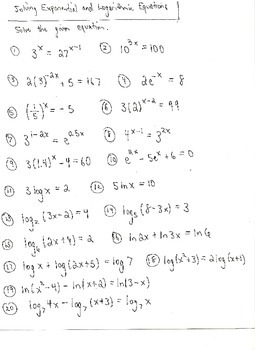 Exponential and Logarithm Equations