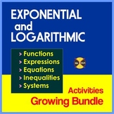 Exponential and Logarithmic Equations BUNDLE 1(over 250 equations in 7 Products)