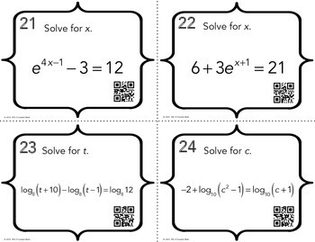Exponential and Logarithmic Equations Task Cards