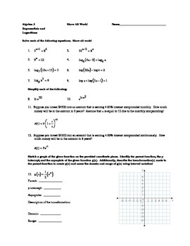 Exponential and Logarithmic Equations and Functions