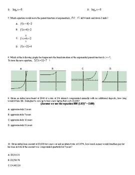 Exponential and Logarithmic Exam or quiz (easy)