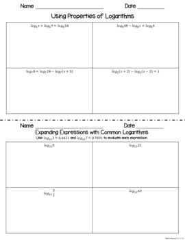 Exponential and Logarithmic Functions - Interactive Notebook Activities