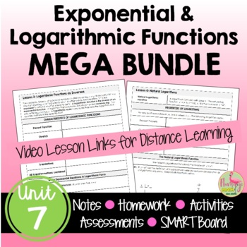 Algebra 2 Exponential and Logarithmic Functions Bundle