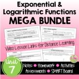 Exponential and Logarithmic Functions MEGA Bundle (Algebra 2 - Unit 7)