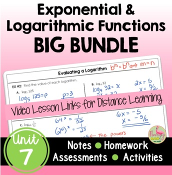 Exponential and Logarithmic Functions BIG Bundle (Algebra 2 - Unit 7)