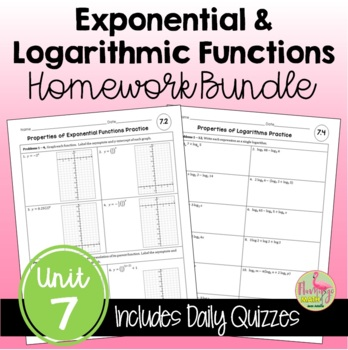 Exponential and Logarithmic Functions Homework Bundle