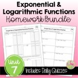 Algebra 2 Exponential and Logarithmic Functions Homework Bundle