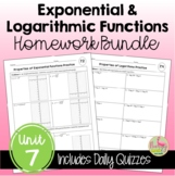 Exponential and Logarithmic Functions Homework (Algebra 2
