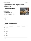 Exponential and Logarithmic Functions Notes Sheet