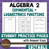 Exponential and Logarithmic Functions - Student Practice Pages