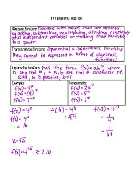 Exponential and Logarithmic Functions Unit
