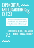 Exponential and Logarithmic Functions Unit Test